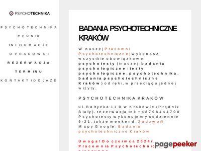 Psychotechnika Kraków: badania psychotechniczne, psychotesty