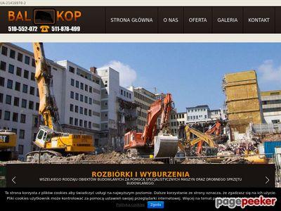 Rozbiórki budynków, roboty ziemne, usługi koparką Warszawa.