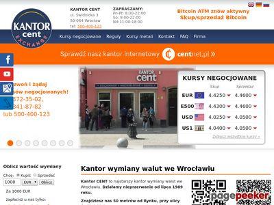 KANTOR CENT Kursy walut kantory Wrocław