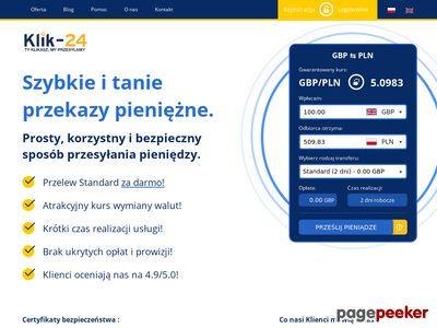 Klik-24 - Przelewy walutowe do Polski i Anglii.