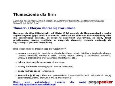 Tłumaczenia angielski Warszawa