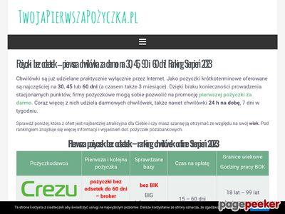 Chwilówki za 0 - TwojaPierwszaPożyczka.pl