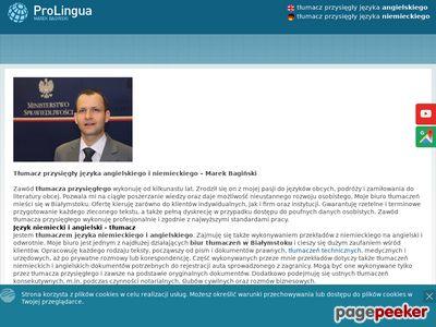 Pro Lingua - biuro tłumaczeń Marek Bagiński