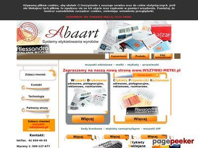Wszywki, Metki, Etykiety - ABAART. Najniższe ceny na rynku