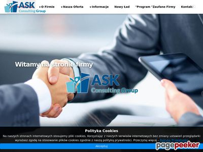 Strona internetowa firmy Ask Consulting Group