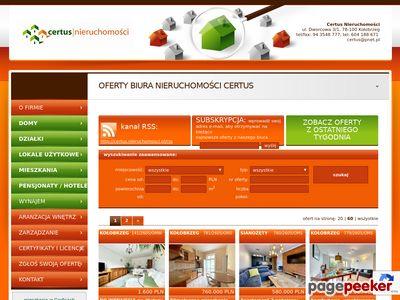 Strona www firmy Certus Nieruchomości