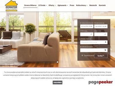 Strona www firmy Domator Nieruchomości