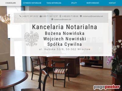 Oferta i dane firmy Kancelaria Notarialna Bożena Nowińska