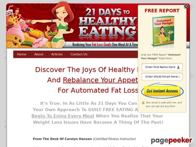 21 Days To Healthy Eating: Realizing Your Fat Loss Goals One Meal At A Time 1