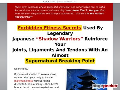 """forbiddenfitnesssecrets - Forbidden Health Secrets and techniques Used By Legendary Japanese """"Shadow Warriors"""" Reinforce Your Joints, Ligaments And Tendons With An Nearly Supernatural Breaking Level"""
