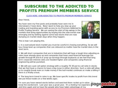 Dave Skarica's Addicted to Profits Premium Members Subscription