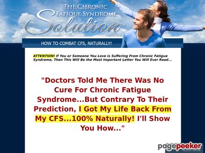The Chronic Fatigue Syndrome Solution™ - Free Yourself From CFS, Naturally!