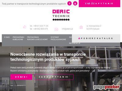 DERIC TECHNIK - Nowoczesne przenośniki kubełkowe WIESE, NERAK, przenośniki rurowo-łańcuchowe SCHRAGE