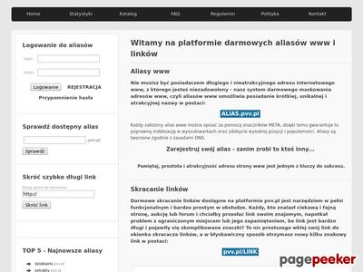 Serwis darmowych aliasów i krótkich linków - pvv.pl