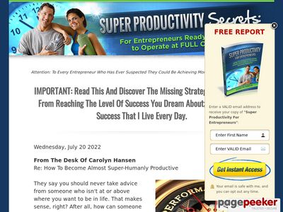 Super Productivity Secrets: For Entrepreneurs Ready And Willing To Operate At FULL Capacity