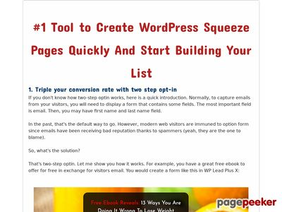 WP Lead Plus - Best Squeeze Page Creator Plugin For WordPress