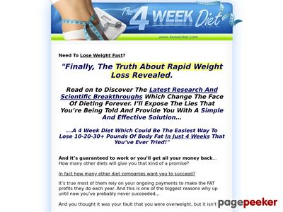 4 Week Diet - Lose Weight Fast and Easy - Weight Loss