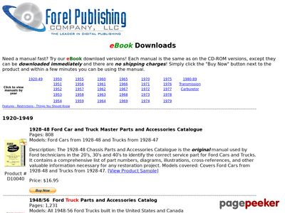 ForelPublishing.com - Digitally Downloadable Ford Manuals