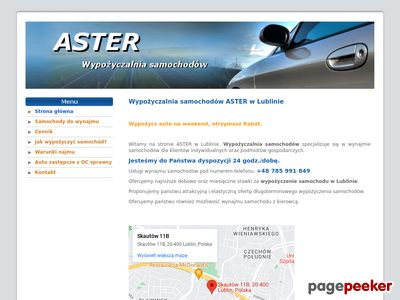 Aster - wynajem samochodów osobowych