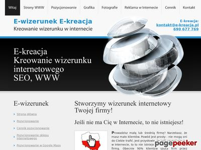 Homepage e-kreacja tanie strony