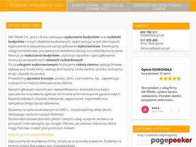 Ew-trans S.C. Rozbiórki i wyburzenia budynków.