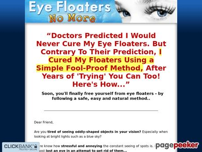 Eye Floaters No More – Get Rid of Eye Floaters Easily, Naturally and Forever