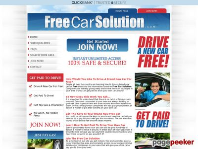 Free Car Solution - Get A Free Car Or Get Paid To Drive