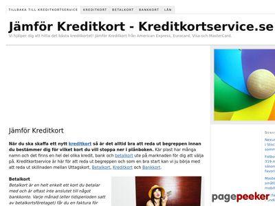 Kreditkortservice.se - Jämför Kreditkort och Betalkort! - http://www.kreditkortservice.se