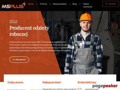 MS Plus Sokołowska I. producent odzieży roboczej