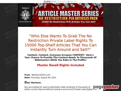 Article Master Series :: 200 No Restriction PLR Articles Pack