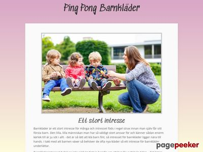 Skärmdump av pingpongbarnklader.se