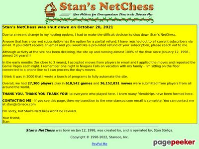 Stan's NetChess – Your Address for Correspondence Chess in the Internet Age