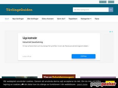 Skärmdump av tavlingsguiden.se