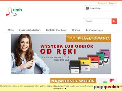 Pieczątki i wizytówki - firma AMB w Poznaniu