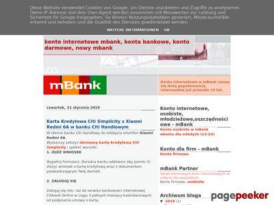 Darmowe konto internetowe, mBank konto
