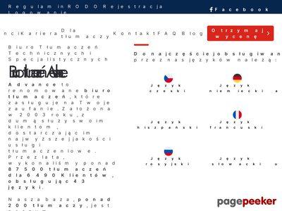 Biuro tłumaczeń specjalistycznych Advance
