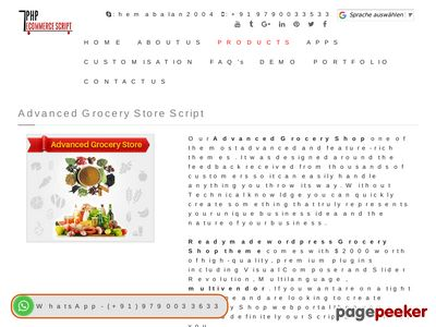 http://www.phpecommercescript.com/advanced-grocery-store-script.html website snapshot