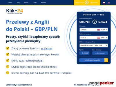 Przelewy z Anglii do Polski - PLN/GBP