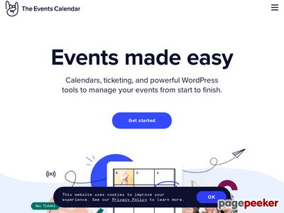 https://theeventscalendar.com/ website snapshot