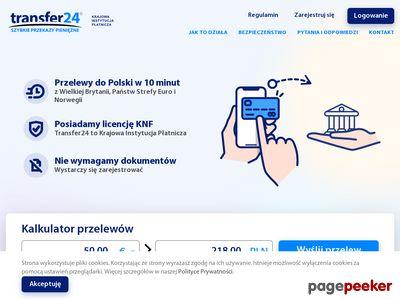 Transfer24 - Szybkie internetowe przelewy do Polski z Wielkiej Brytanii