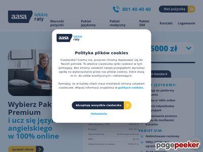 AASA Polska - ratalna pożyczka - zrzut ekranu
