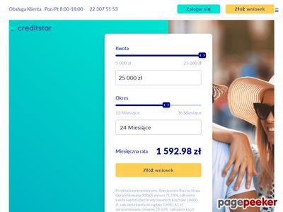 Creditstar - chwilówka na 90 dni - zrzut ekranu