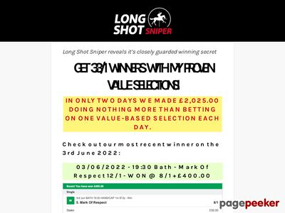 Long Shot Sniper – Get 25/1 Winners With My Proven Value Horse Racing Tips!