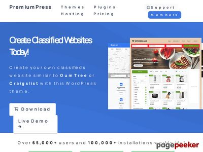 https://www.premiumpress.com/wordpress-classifieds-theme/ website snapshot