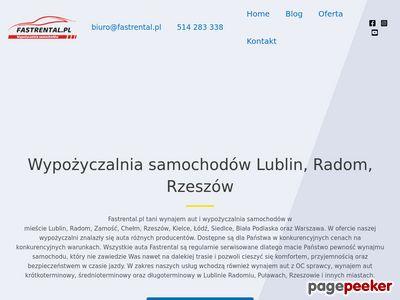 Fastrental wypożyczalnia samochodów Lublin lotnisko Rzeszów Warszawa Radom Zamość Puławy