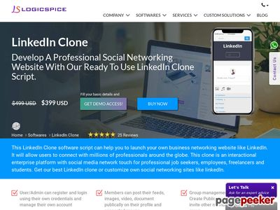 https://linkedin-clone.logicspice.com/ website snapshot