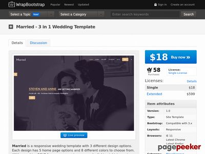 https://wrapbootstrap.com/theme/married-3-in-1-wedding-template-WB07D13JD?ref=scriptgiver website snapshot