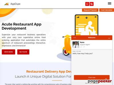https://www.appdupe.com/restaurant-app-development website snapshot