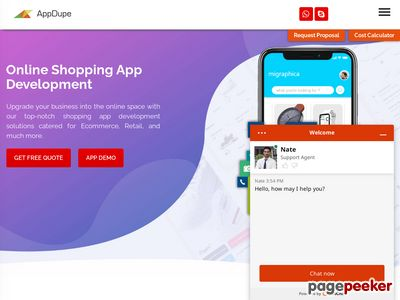 https://www.appdupe.com/shopping-app-development website snapshot