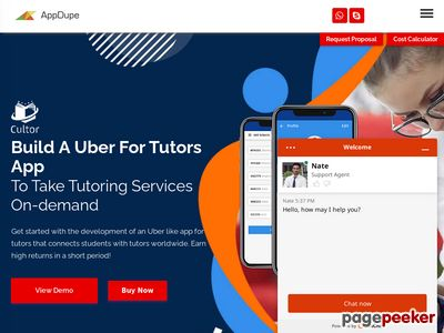 https://www.appdupe.com/uber-for-tutors website snapshot